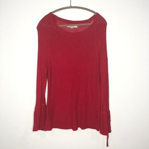 Loft Size Large Red Sweater Bell Sleeves